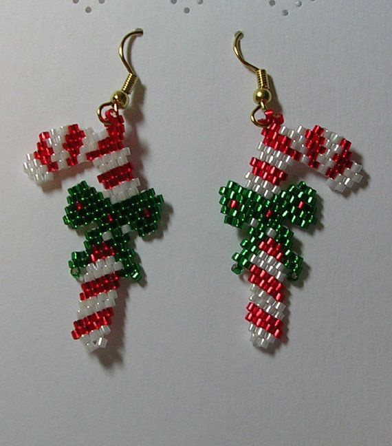 Candy Cane Earrings by shamlynn on Etsy