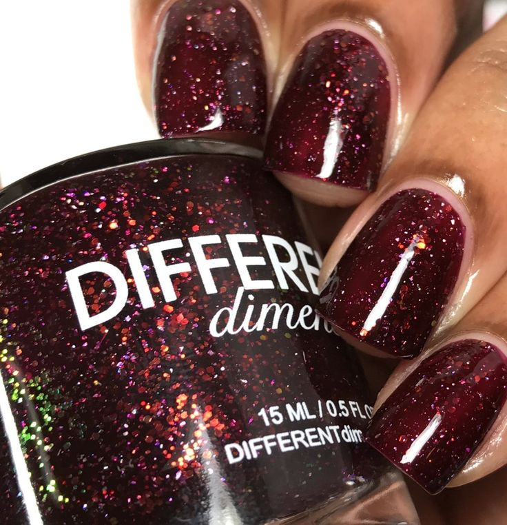 Different Dimension: ❤️ Cat's Eye Nebula ❤️ ... a deep burgundy/wine jelly polish with holographic microflakies and iridescent red to green color-shifting glitters