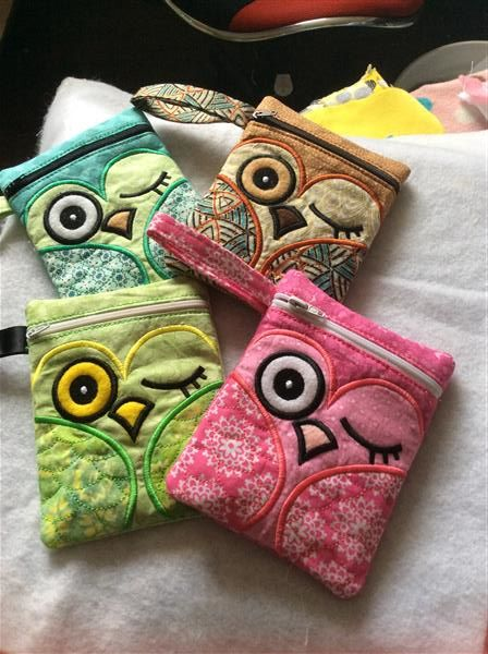 In The Hoop Embroidered Owl Bags. More Machine Embroidery Designs at EmbroideryDesigns.com
