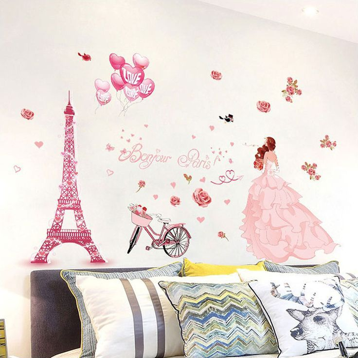 Bicycle Wedding Girl Wall Sticker Flower Romantic Wall Stickers Home Decor  Living Room PVC Art Bedroom Part 90