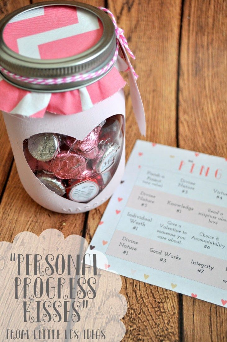 Need a Valentine for the YW in your Ward? Here's a great idea & a Personal Progress motivator! FREE printables from Little LDS Ideas