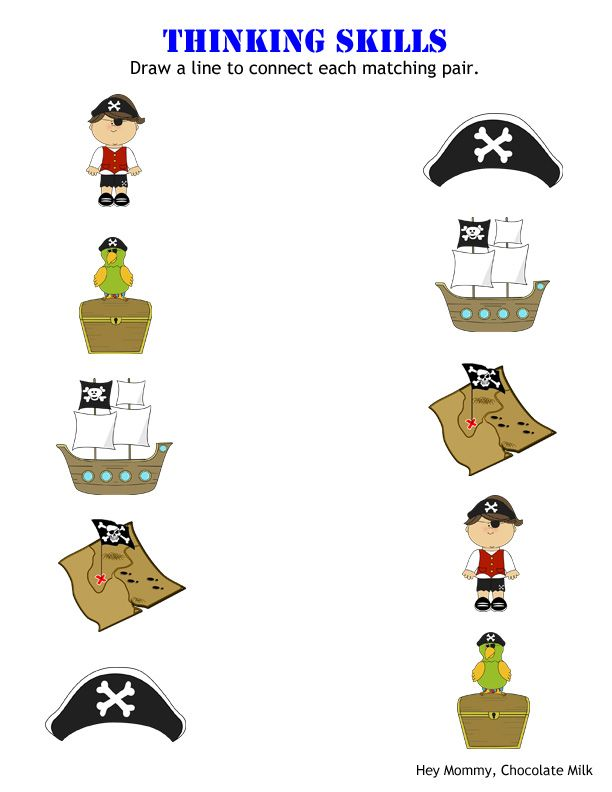 Matching Pirate Themed Worksheet