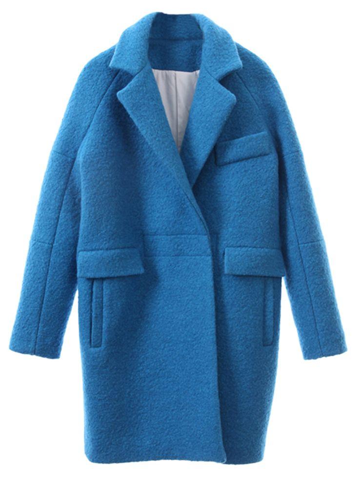 Blue Woolen Longline Ovoid Coat