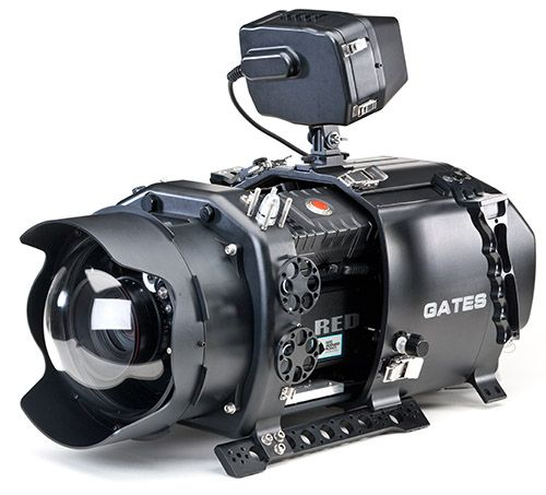 Gates underwater video housing for RED camera  ::  This video shows the housing ( http://www.youtube.com/watch?v=zLYrYGA39bM ) and this one shows the housing in action ( http://www.youtube.com/watch?v=2q-J8szKhD8 )