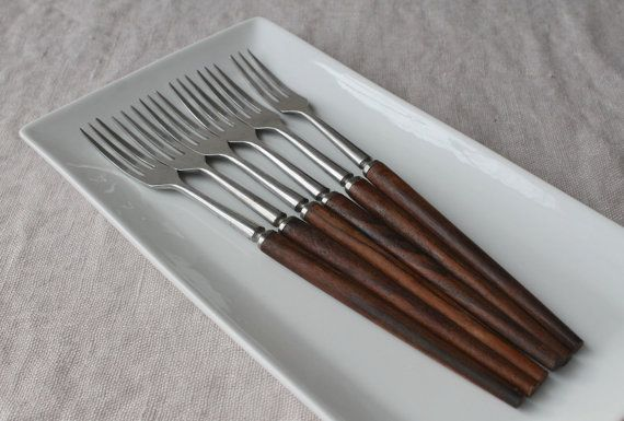Long Vintage Danish Modern Forks Teak Handles by tippleandsnack