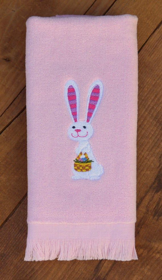 Embroidered Towels Easter Bunny With Basket Embroidered Hand