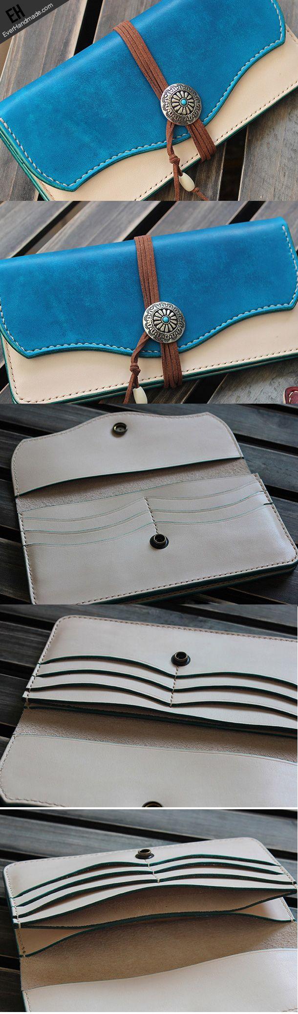 Handmade custom vintage purse leather wallet long phone wallet blue women