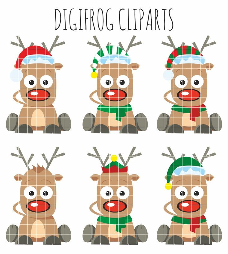 Funny raindeers clip arts, Rudolf picture, red nose reindeer, paper crafts, nursery decor, card making, cupcake toppers, scrapbooking by DigiFrog on Etsy