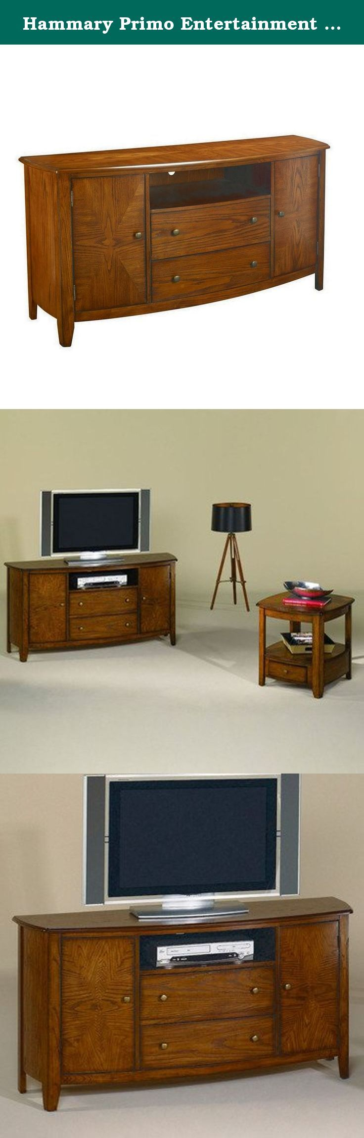 "Hammary Primo Entertainment Console in Brown. Features: Warm Medium Brown Crafted from Cathedral Oak Veneer, Select Hardwood Solids and Wood Products Combines cathedral oak veneers with bold curved shapes Reverse diamond pattern on table tops and shelves Includes media storage drawers, an open compartment for audiovisual components and two doors with storage space inside Transitional StyleSpecifications: Overall Dimensions: 60""W x 19""D x 30""H Weight: 136 lbs."