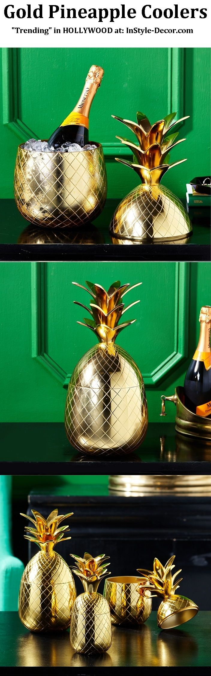 """""""Gold Pineapple"""" """"Gold Pineapples"""" """"Gold Pineapple Ice Bucket"""" Designs By www.InStyle-Decor... HOLLYWOOD Over 5,000 Inspirations Now Online, Luxury Furniture, Mirrors, Lighting, Chandeliers, Lamps, Decorative Accessories & Gifts. Professional Interior Design Solutions For Interior Architects, Interior Specifiers, Interior Designers, Interior Decorators, Hospitality, Commercial, Maritime & Residential. Beverly Hills New York London Barcelona Over 10 Years Worldwide Shipping Experience"""