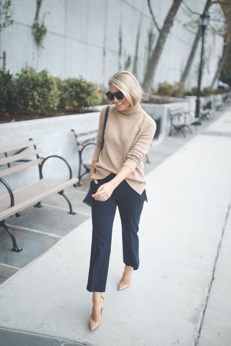 Our Turtleneck Tunic and Pinstripe Refined Kick Crop Flare, styled by our partner @styledsnapshots.