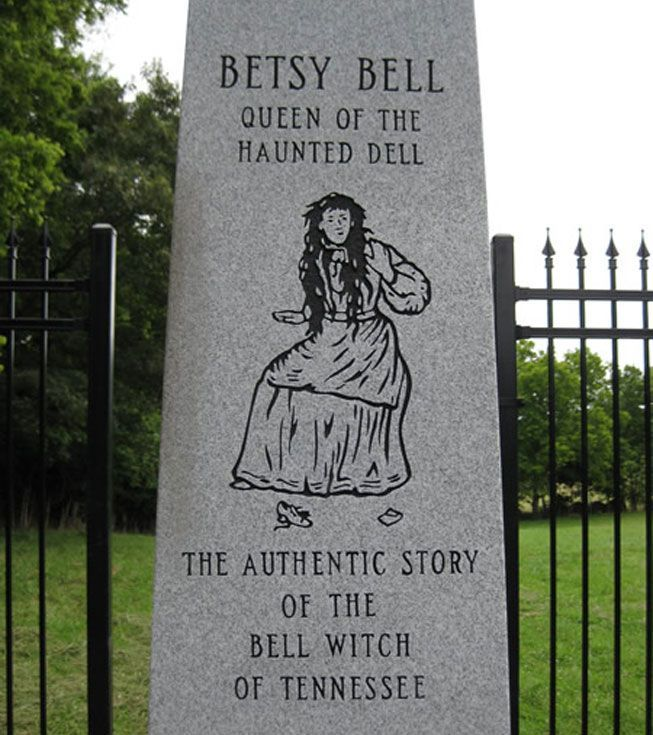 A marker for Betsy Bell near Bell Witch Cave.