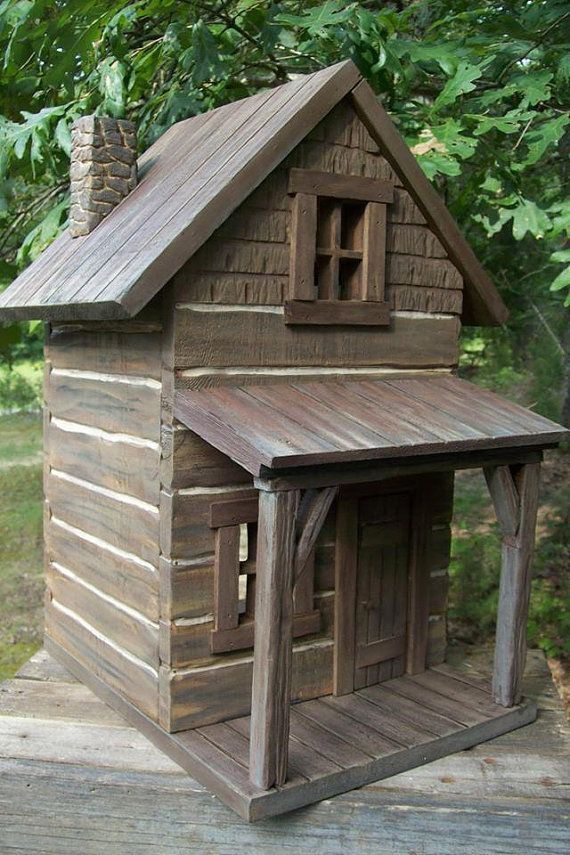 Two Story Dollhouse Cedar Log Cabin w/ porch ~  Folk Art ~ 1:12 ~ Hand Carved logs ~  Very unique ~ Ready to Decorate!
