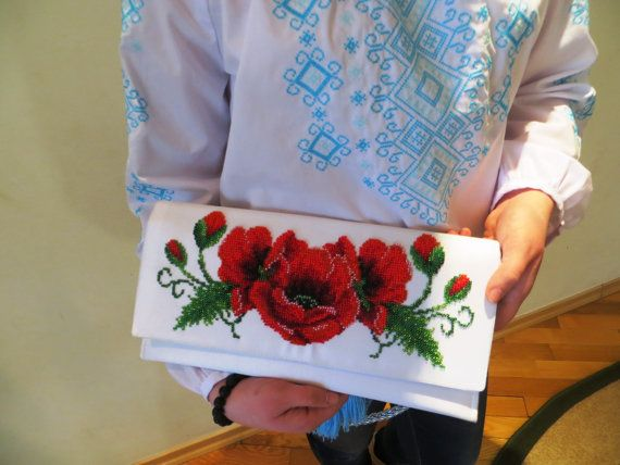 "Beads Embroided Stylish White Clutch Bag ""Poppies"""