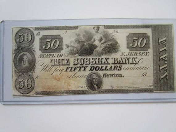 Obsolete US Currency Bank of Sussex Newton New Jersey Fifty 50