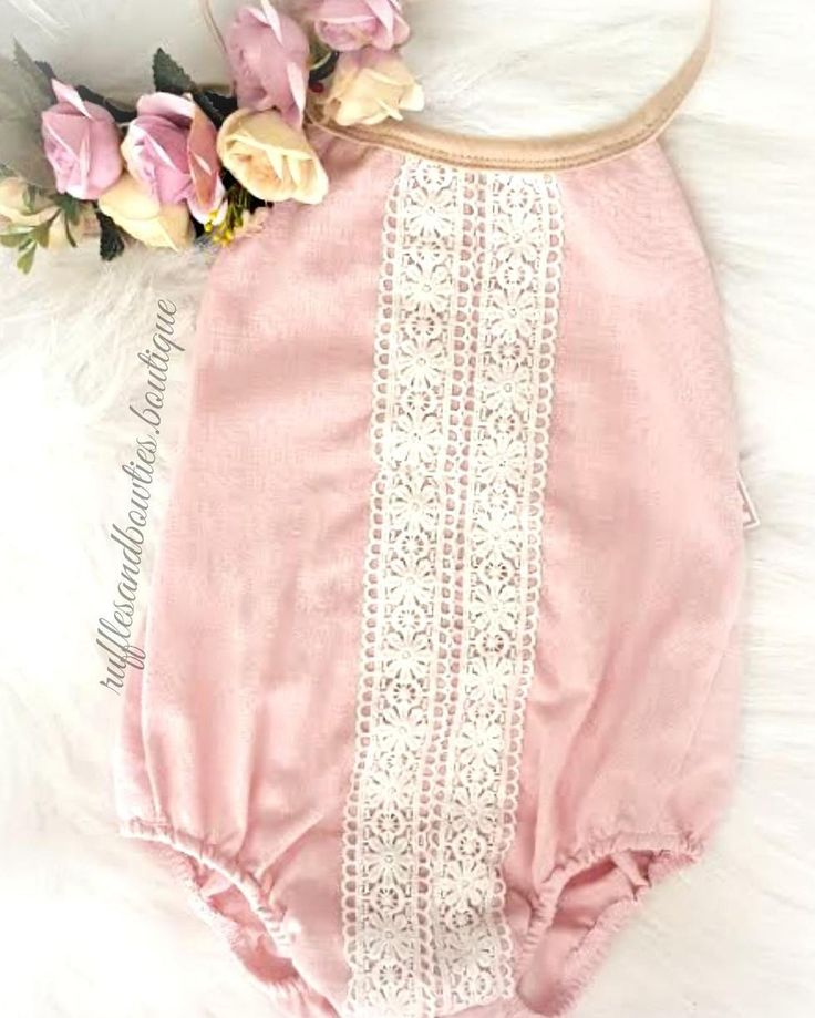 NEW STOCK ALERT Lace Rompers & Floral Crowns have us like This beautiful soft dusty pink linen romper is adorned with delicate lace details. This vintage inspired piece is perfect to wear on its own or paired with a pair of our Kryssi Kouture delicate pearl jean shorties. NOW available in shop!