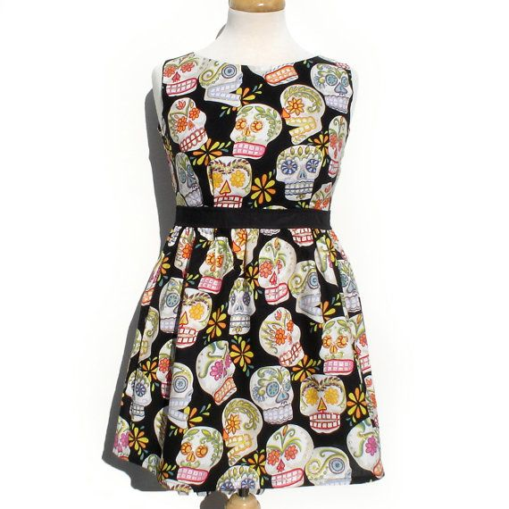 Day of the Dead / Dia de los Muertos Dress/ Rockabilly / Pinup/ Mexican Sugar Skulls Dress   / Rockabilly Dress / Boho Dress