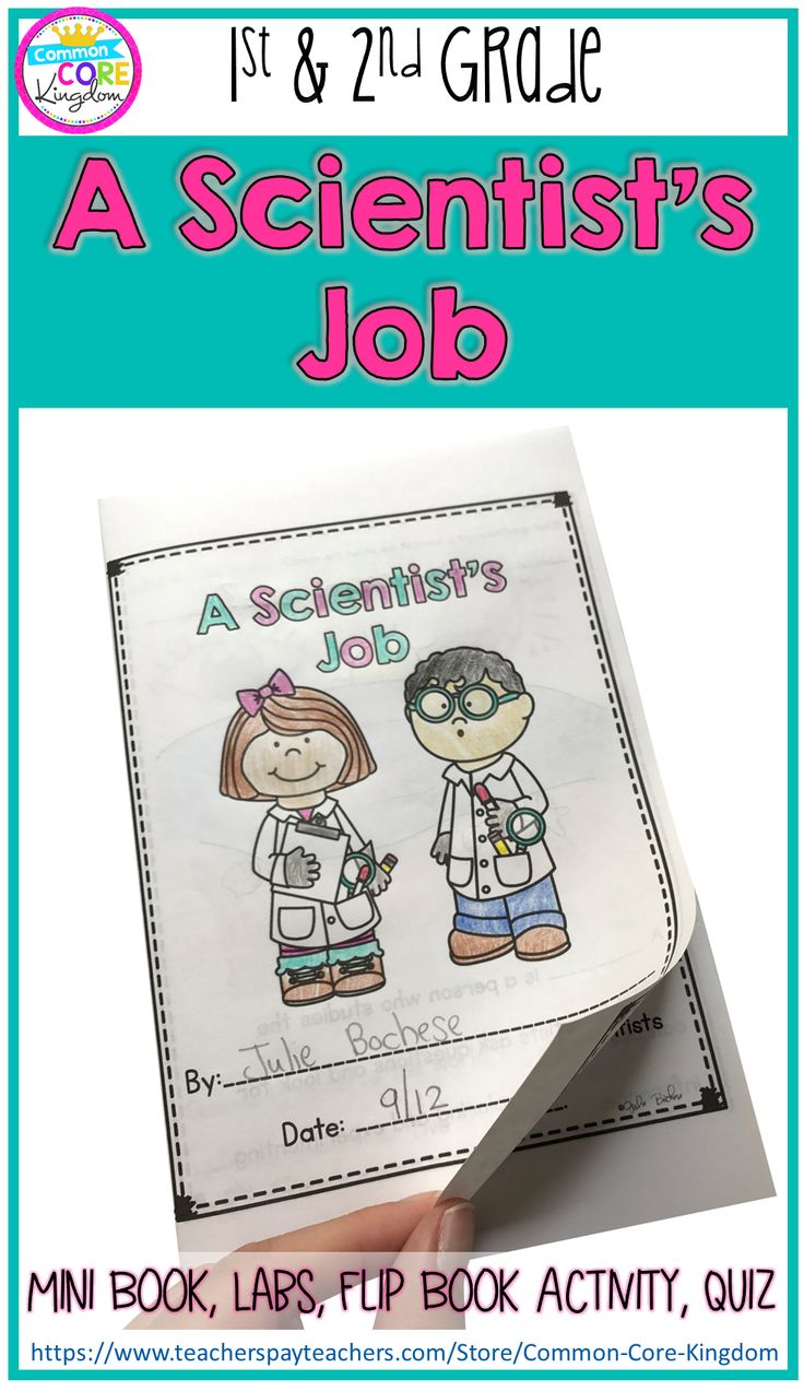 Are you looking for a fun and engaging way to teach your 1st or 2nd graders about a scientist's job? This science mini unit includes a book, vocabulary cards, foldable activity, lab experiments, and a quiz to teach students about the basics of science and the Scientific Method for first or second graders.