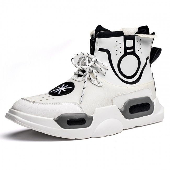e33e96c7 Taller Street Hip Hop Sneakers for Men Add Height 3.2inch / 8cm White High  Top Board Shoes