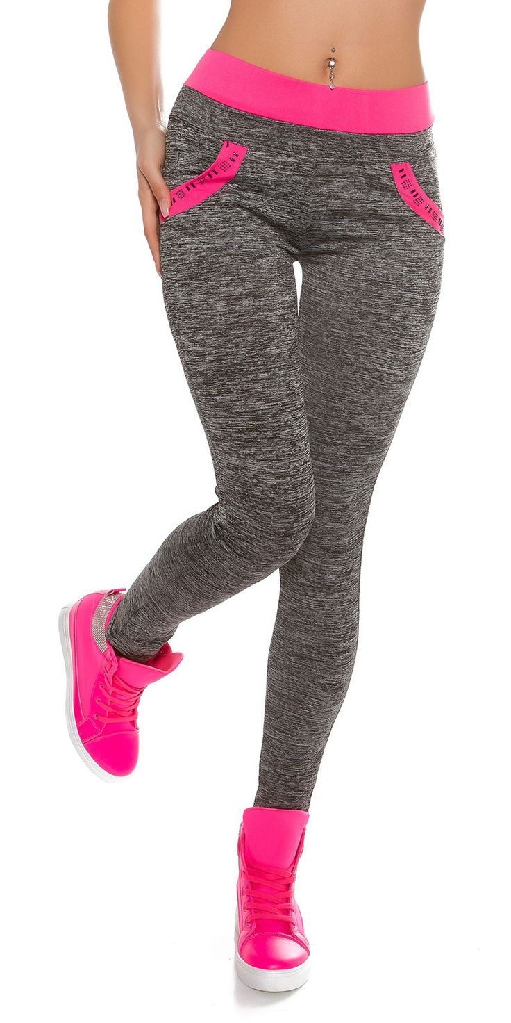 Hot Pink and Grey Leggings by Koucla - Fashionhub - Sporty Leggings Online. Sporty leggings, leggings,   R695.00  http://fashionhub.co.za/hot-pink-and-grey-leggings-by-koucla.html