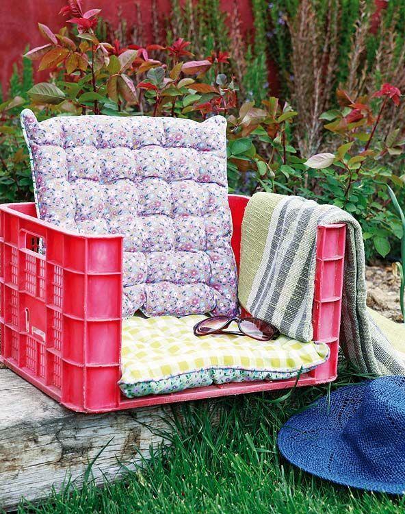кресло из пластикового ящика своими руками