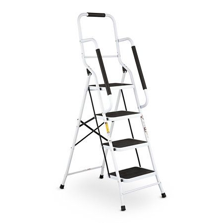 """4-STEP SAFETY LADDER: Includes spongy front and side support handrails for a more secure grip;   oversized slip-resistant steps to help your feet stay put and padded feet to protect your floor and add stability.  Made of lightweight steel, these ladders are easy to open, close, and transport Weight capacity of each one is 225 lbs.  Open: 20""""W x 32""""D x 62-1/2""""H; folds to 9""""W, Item #511512; $99.99"""