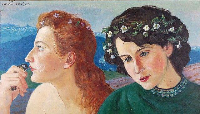 Wlastimil HOFMAN (1871-1970)  Siostry - Danuta i Barbara Grębeckie, 1950 olej, sklejka; 39 x 67 cm; sygn. i dat. l. g.: 1950 / Wlastimil Hofman