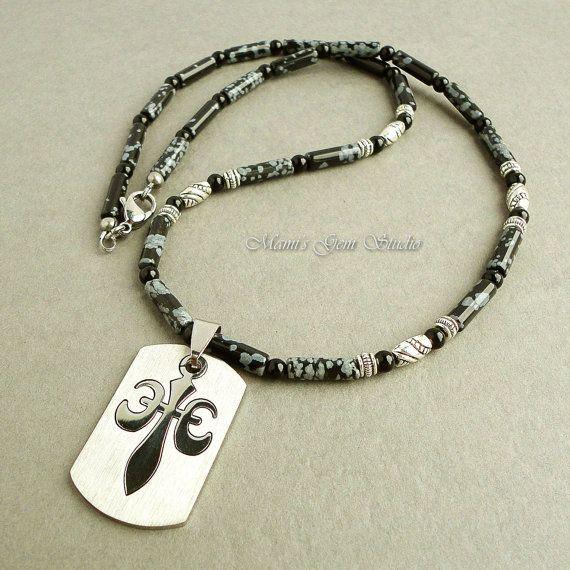Mens Necklace Black Gemstone Stainless Steel от mamisgemstudio, $39.95