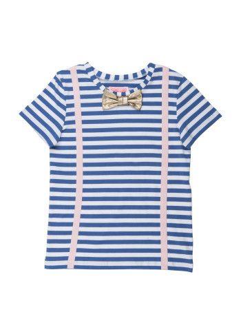 Ihana lyhythihainen paita, jossa rusetti ja henkselit