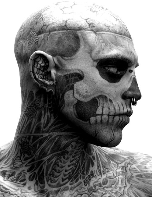 "Skull Ink. I hope this is the art of make up and masquerade and not truly ""inked""? (tattoo?) Well done, anyway."