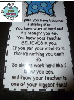 4th Grade Frolics: Cute end of the year message from teacher to students.  Can make into laminated bookmarks to send home.