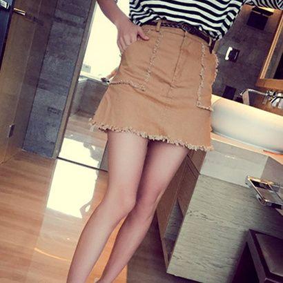 Юбки женская 2015 корейский стиль свободного покроя изношенные кисточкой тонкий высокая талия линия мини юбка хаки бесплатно пояса faldas largas 3040