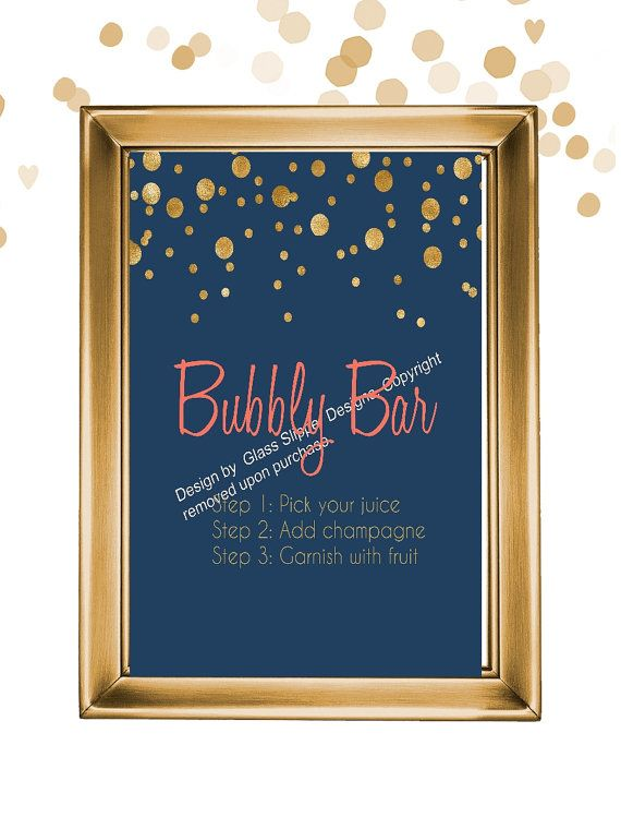 Set of 5 printable navy, coral and gold champagne bridal shower signs/ champagne brunch signs/ champagne bridal shower/ mimosa bar