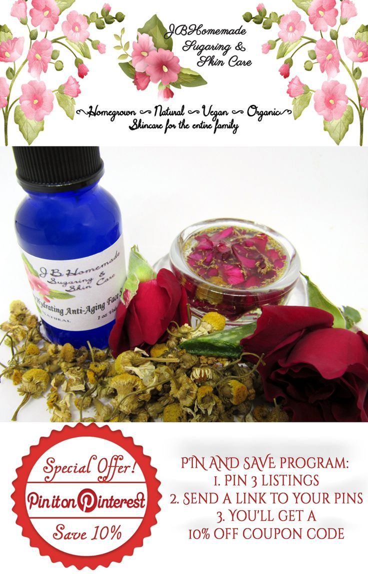 Target the signs of aging with JBHomemade's Ultra Hydrating Anti-Aging Face Serum with Rose and Chamomile ♦Smooths fine lines & wrinkles ♦Intensely hydrating ♦Aids in healing sunspots ♦Relieves symptoms of eczema ♦Calms dry & irritated skin ♦Battles free radicals ♦Chemical & paraben free ♦Glowing complexion  $17.99 Get it here http://etsy.me/2dVpFWg PIN & SAVE:  1. Pin 3 listings 2. Send a link to your pins 3. Get 10% off #skincare #antiaging #jbhomemade #chamomile #serum #rose