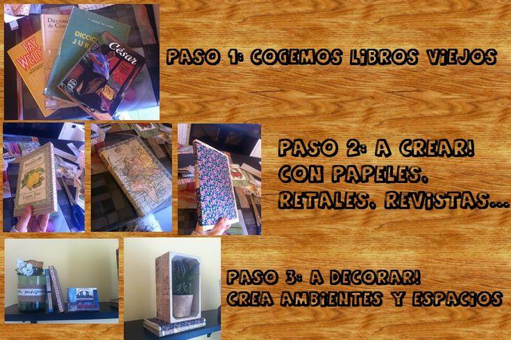 Como reutilizar libros antiguos para crear nuevos ambientes y decoraciones :)