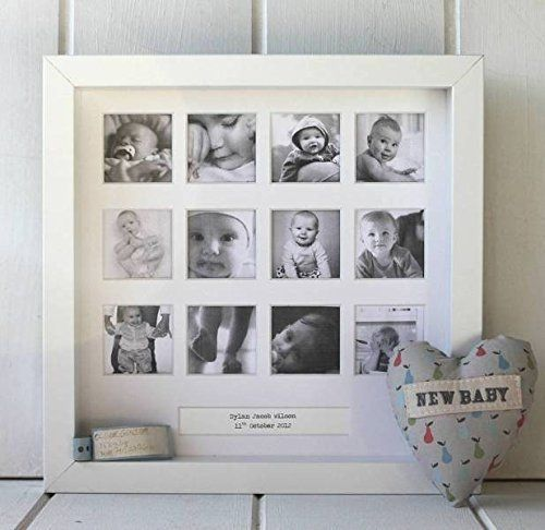 Personalized 'My First Year' Square Photo Frame. A beautiful personalized 'My First Year' square photo frame to capture your baby's first year. This beautiful frame is perfect for a naming ceremony or birth gift. It has a simple yet elegant design and the neutral white color will fit in with any decor. It has twelve square windows for your photographs to sit in, and a box at the bottom that can be personalized with a message, or simply with the birth band of the child. The frame can be…