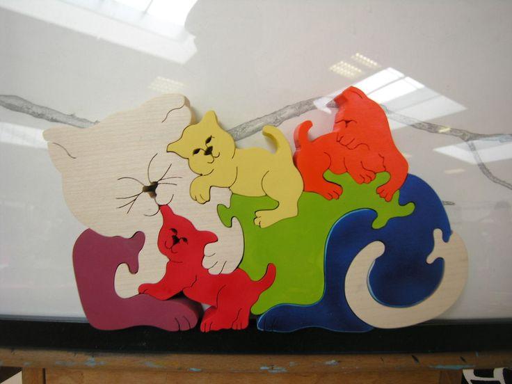 Puzzle en bois chat et chiots pour enfant à partir de 3 ans : Jeux, jouets par boisdeveil