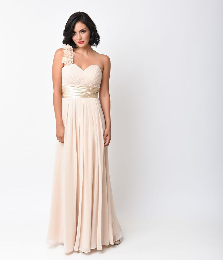 Beige Chiffon Floral Cold Shoulder Long Gown