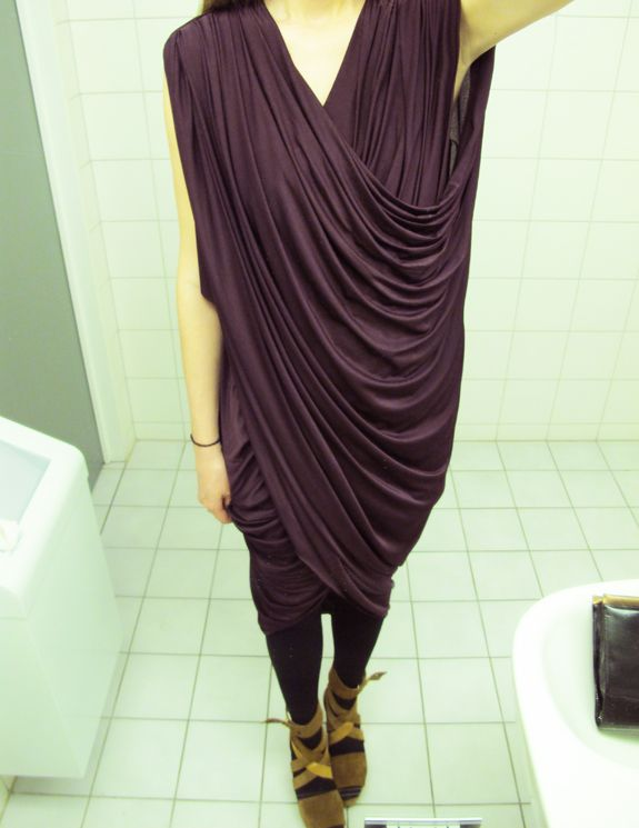 DIY Draped Dress | Anywho  I wish I could drape fabric and end up with something as lush and sophisticated as this! If you are able to save up/have a ton of spare money/want to blow a packet, may I suggest getting a dress form? I have a really old one that my dad found in the props department of my home town's Town Hall. Seriously, when he told me he had gotten it for me, I almost cried with excitement! It's what I would call… vintage?! But being able to pin stuff together on it