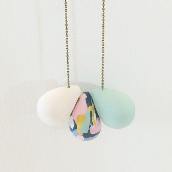 Longline Teardop Trio Necklace - beautiful handmade polymer clay jewellery by…