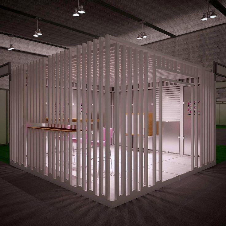Proyecto de stand cerrado con estructura tubular metálica
