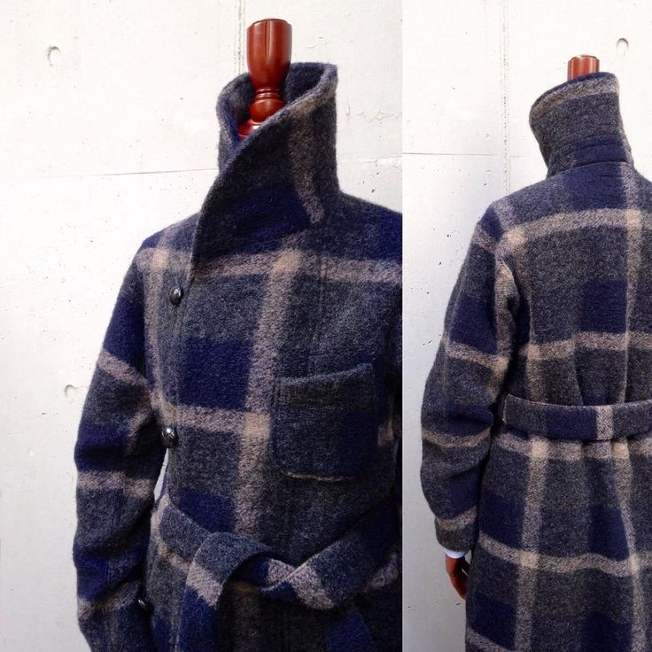 """2016FW「FWK by ENGINEERED GARMENTS」 """"STYLING"""" KNIT ROBE-Wool Knit Plaid / Dk.Nvy/Gry / ¥79,000+Tax #nepenthes #needles #engineeredgarments #fwkbyengineeredgarments"""
