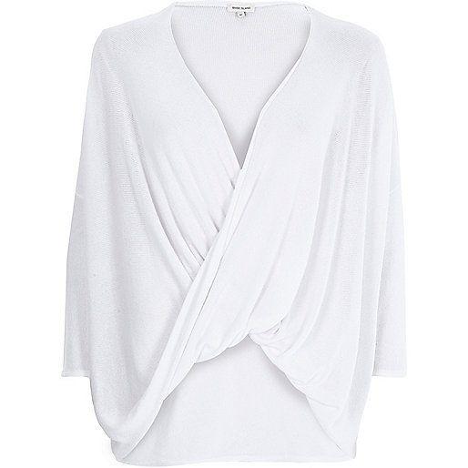 White drape front top