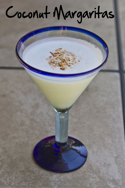 Coconut Margarita: 1 cup Coco Lopez (or cream of coconut, but Coco Lopez is THE BEST),1/2 cup lime juice,1/2 cup tequila, 1/4 cup triple sec  1 cup ice (if you can, use crushed ice)