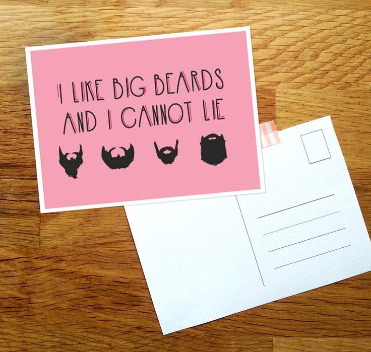 I like big beards and I cannot lie - ansichtkaart gemaakt door Donderdag. #baard #baarden #bigbeards #ansichtkaart #wijzijndonderdag #leukkaartje #kaart #ansichtkaart #vaderdag #mannen #typografie #handgemaakt #grafischontwerp