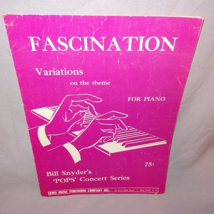 Fascination Variations Theme Piano Sheet Music 1965 Bill Snyder Pops Concert