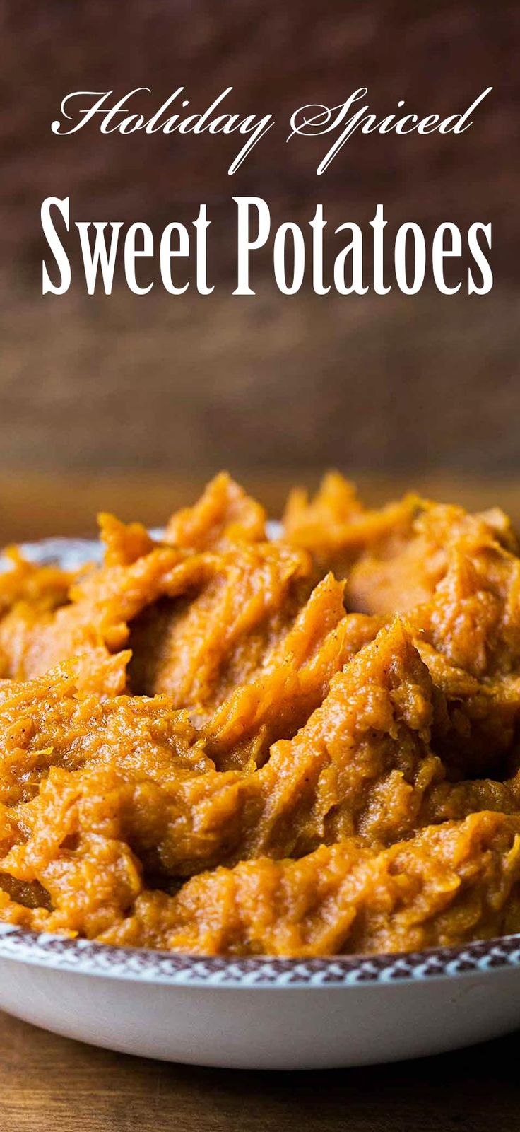 Mashed sweet potato yams with butter, brown sugar, and holiday spices. Perfect for Thanksgiving!