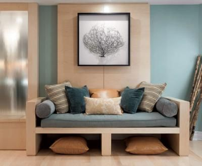 Built in daybeds--basement: Wicker Baskets, Blue Wall Colors, Design Ideas, Pillows Storage, Rooms Ideas, Colors Schemes, Floors Pillows, Families Rooms, Basements