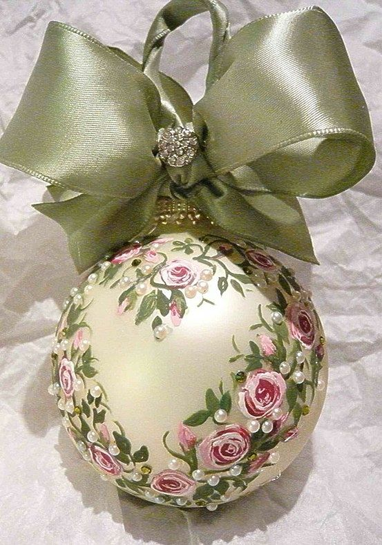 Hand-painted Christmas Ornament with satin bow. You could get a clear ornament and paint the inside any color then paint the outside.