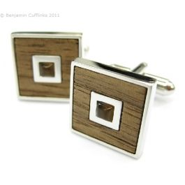 Wood Feature Square Cufflinks with Catseye Centre - Wood featured cufflinks. Perfect for the 5th wedding anniversary!!
